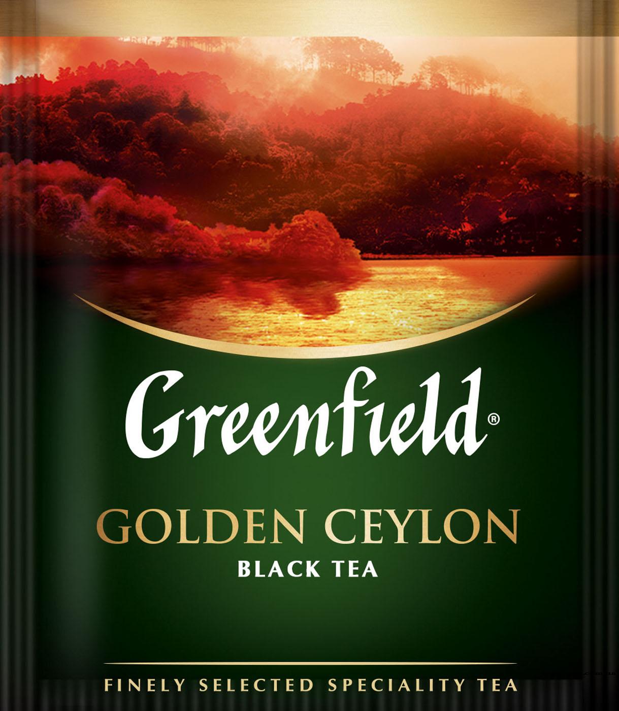 Чай черный классический Golden Ceylon 100пак. по 2гр., термосаше, в пакете Greenfield - фото 1