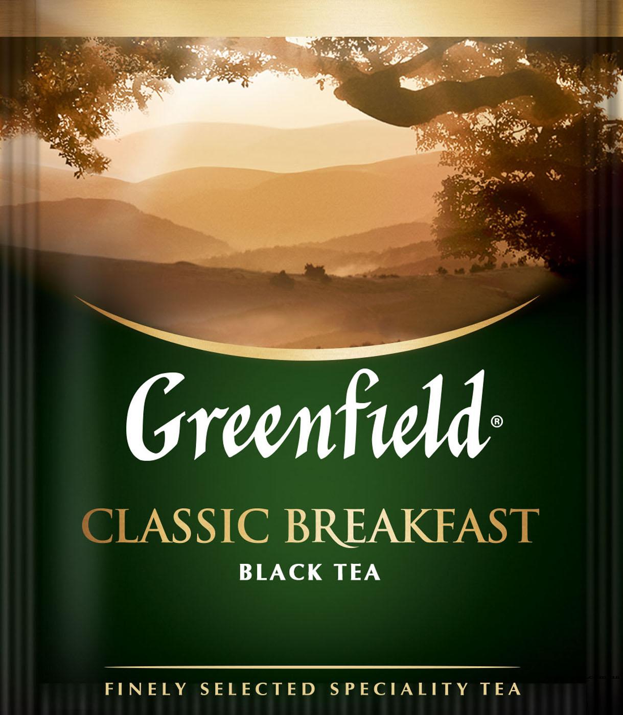 Чай черный классический Classic Breakfast 100пак. по 2гр., термосаше, в пакете Greenfield - фото 1