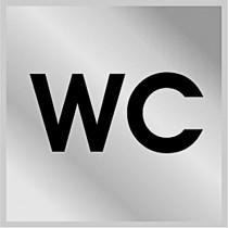 "Табличка настенная  ""WC"", метал серебро, 100*100мм."