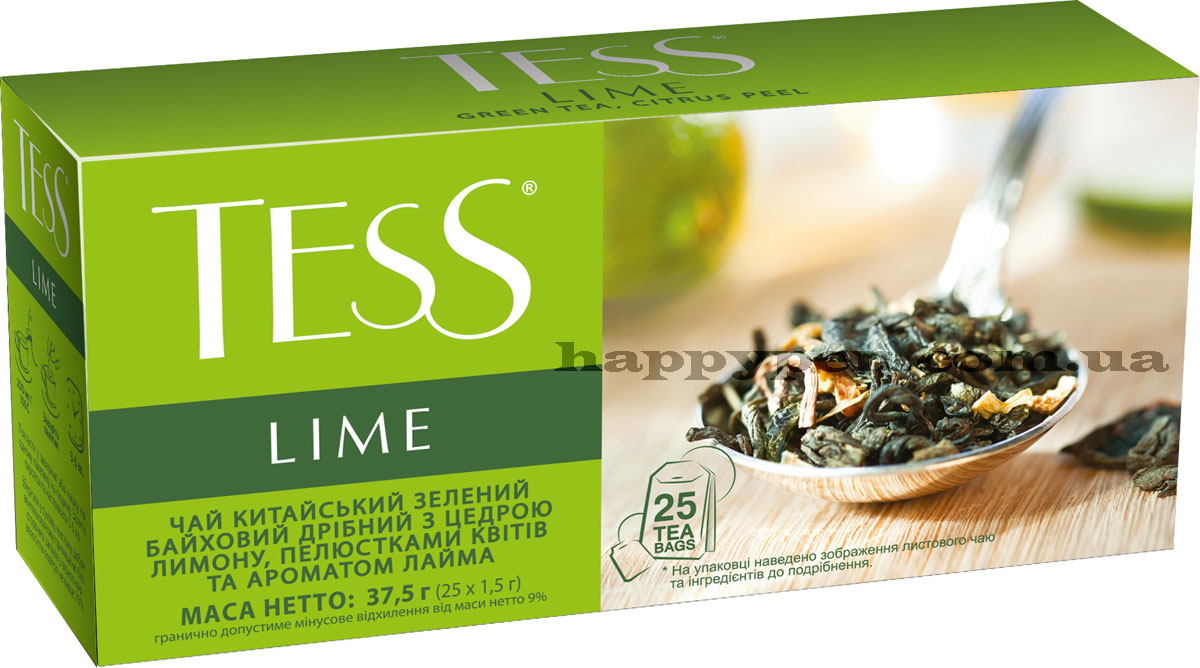 Чай зеленый ароматизированный Lime 25пак. по 1,5гр. Tess - фото 1