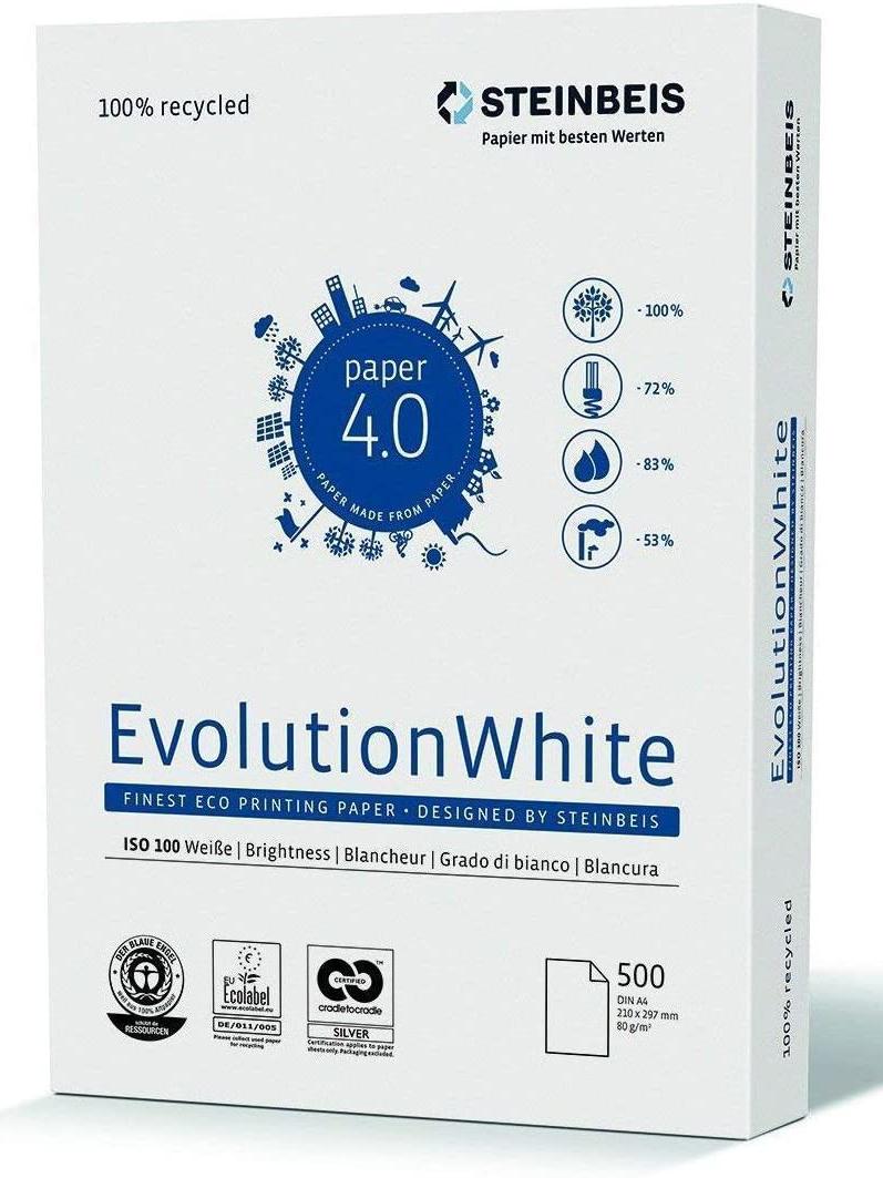 Бумага А4 80гр./м2. 500 лист. Classic White ISO 100/СІЕ 135 на 100% из втор. сырья STEINBEIS - фото 1