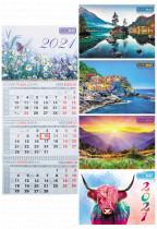 Календарь настенный квартальный на 2021 г. (3 пружини)