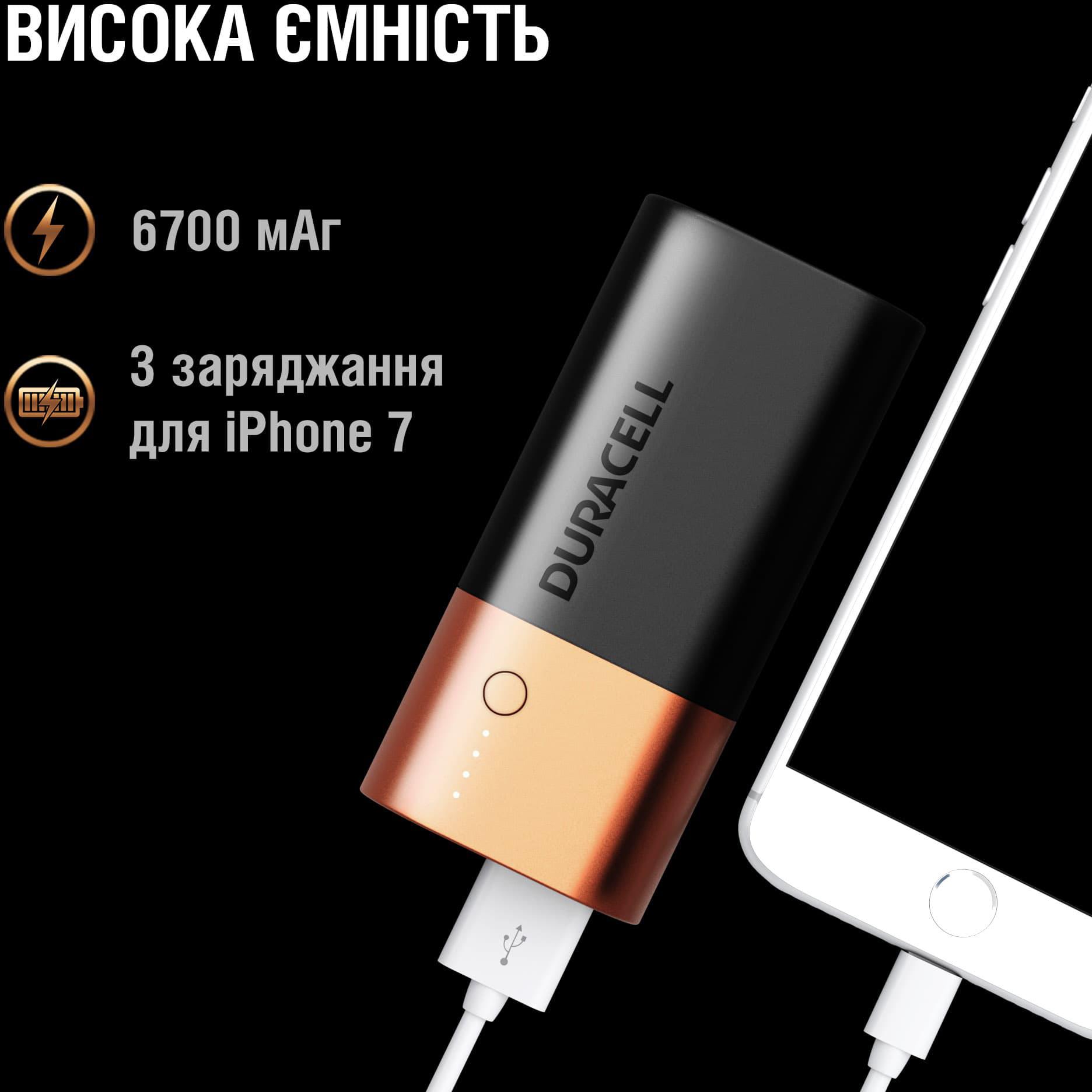 Аккумулятор-зарядка Power bank, емкость 6700мАч, выход 2,4А - 1 USB, вход - microUSB Duracell - фото 4