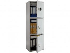 Шкаф бухгалтерский 3полки+отделение с замком, 3 двери, (1490*460*340см.) метал., электронный замок
