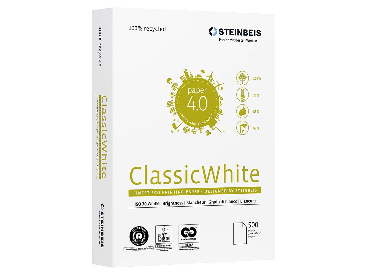 Бумага А4 80гр./м2. 500 лист. Classic White ISO 70/СІЕ 55 на 100% из втор. сырья, сероватый оттенок STEINBEIS - фото 3