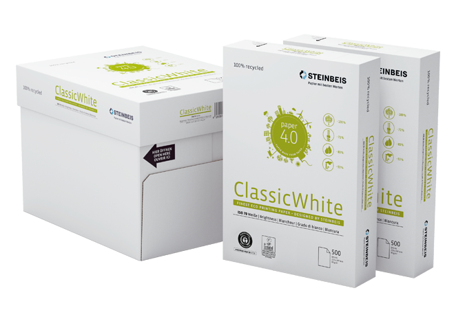 Бумага А4 80гр./м2. 500 лист. Classic White ISO 70/СІЕ 55 на 100% из втор. сырья, сероватый оттенок STEINBEIS - фото 4