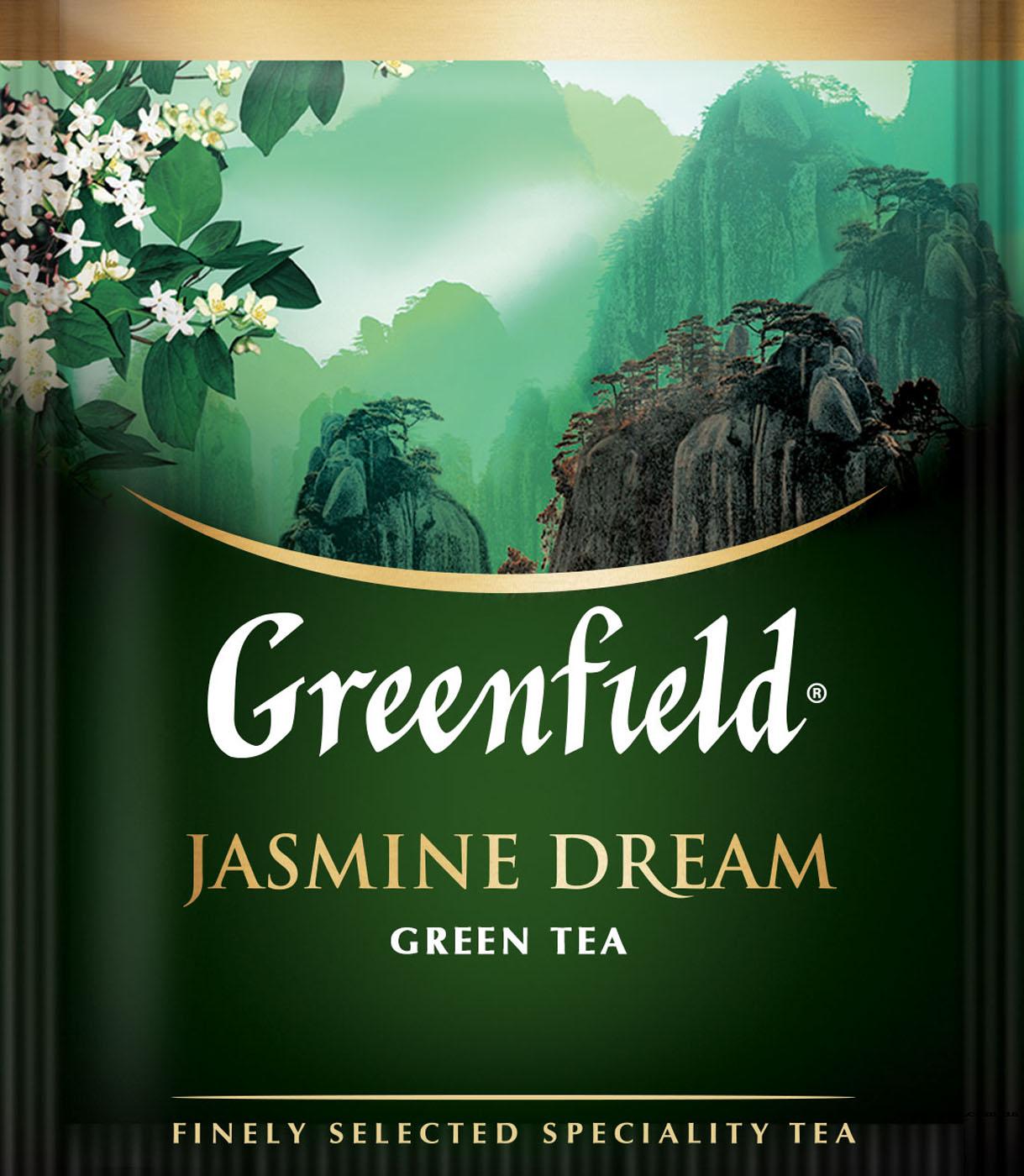 Чай зеленый ароматизированный Jasmine Dream 100пак. по 2гр., термосаше, в пакете Greenfield - фото 1