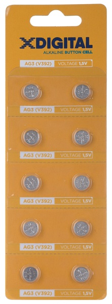 Батарейка AG3 (384, 392, 194, LR736, L736, GP192, V36A), 1,5V, 10шт./уп. X-Digital - фото 1