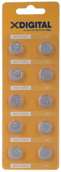 Батарейка AG13 (LR44, G13, A76, SR 44W, GP76A, 357, GPA76, 1154), 1,5V, 10шт./уп. X-Digital - фото 1