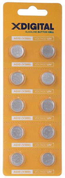 Батарейка AG10 (LR54, G10, LR1130, LR1131, 189, GP89A, 389, SR1130W) 1,5V, 10шт/уп. X-Digital - фото 2