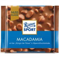 Шоколад Риттер Спорт в молочном шоколаде с орехом макадамия, 100г.
