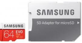Карта памяти microSDXC 64Gb  EVO PLUS UHS-I U3 (MB-MC64HA/RU) + SD