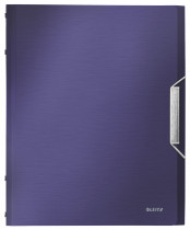 Папка картотека на 12 отделений Style А4, на резинках, с разделителями, титановый син.