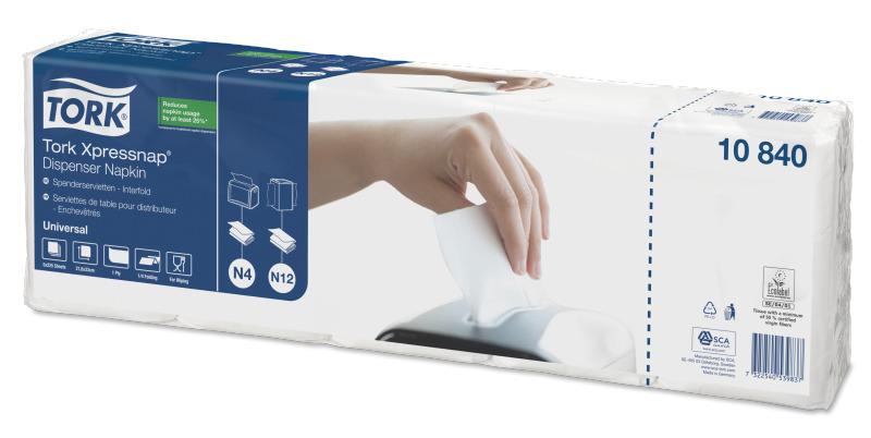 Салфетки для диспенсеров Xpressnap® №4 ультрамягкие, 21,6*33см, 1 сл., 1125 шт/уп., бел. Tork - фото 2
