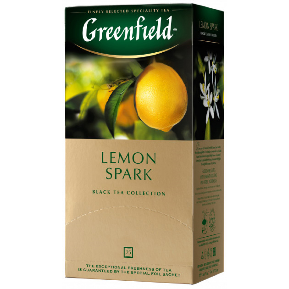 Чай черный ароматизированный Lemon Spark 100пак. по 1,5гр., термосаше в пакете Greenfield - фото 1