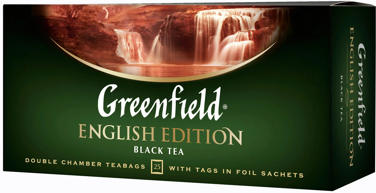 Чай черный классический English Edition 100пак. по 2гр., термосаше, в пакете Greenfield - фото 1