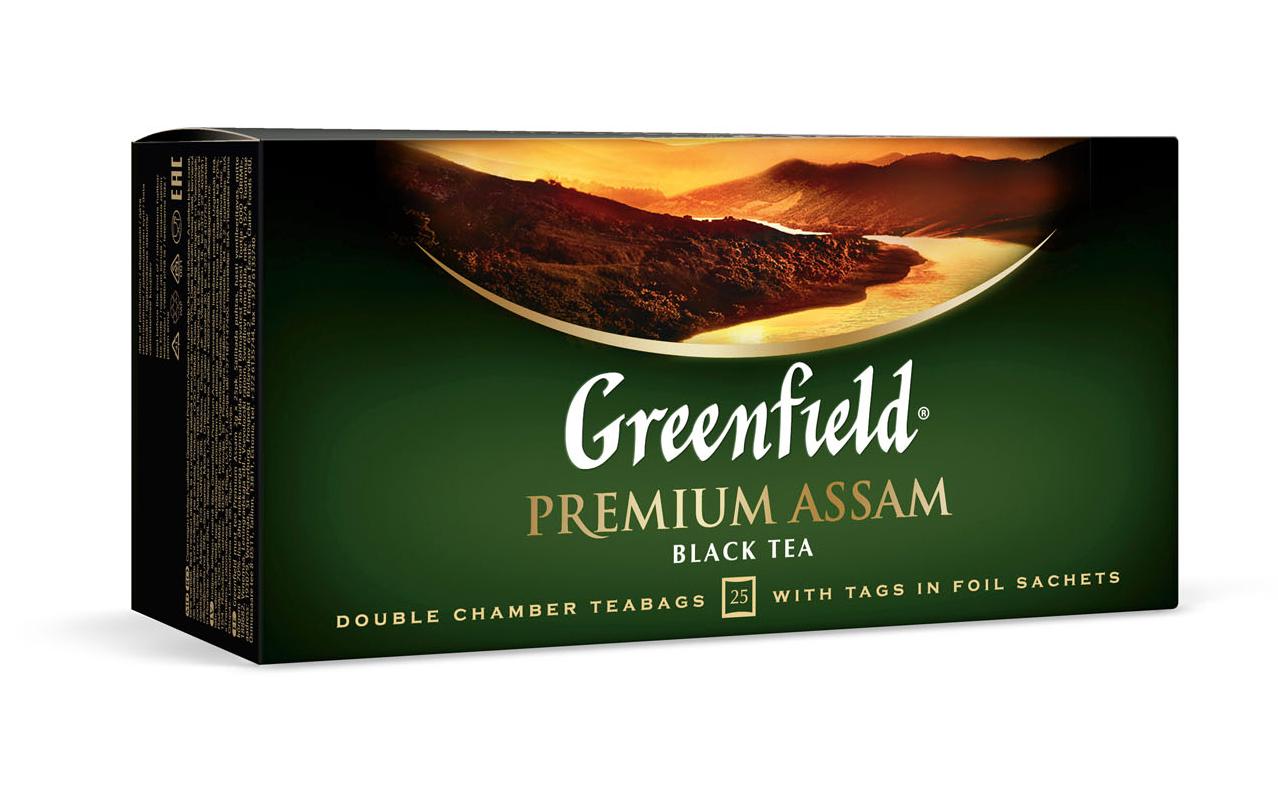 Чай черный классический Premium Assam 100пак. по 2гр., термосаше в пакете Greenfield - фото 1