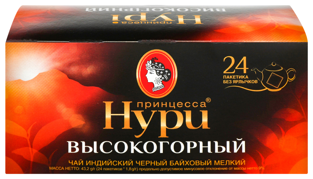 Чай черный классический Высокогорный 24пак. по 1,8гр., без ярлычка Принцесса Нури - фото 1