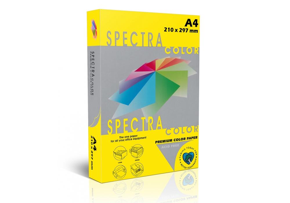 Бумага цветная Color A4 интенсив 160гр./м2. Lemon, 250листов, желт. Spectra Color - фото 1