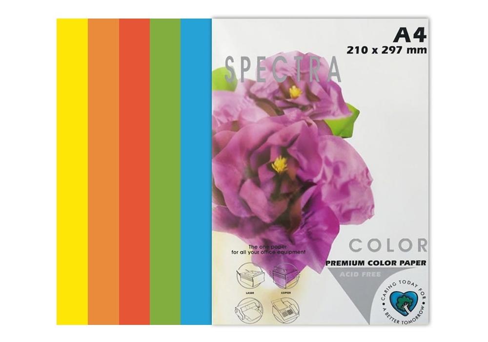 Бумага цветная Color A4 интенсив 80г./м2. Rainbow Pack Deep, 100листов, 5 цветов Spectra Color - фото 2