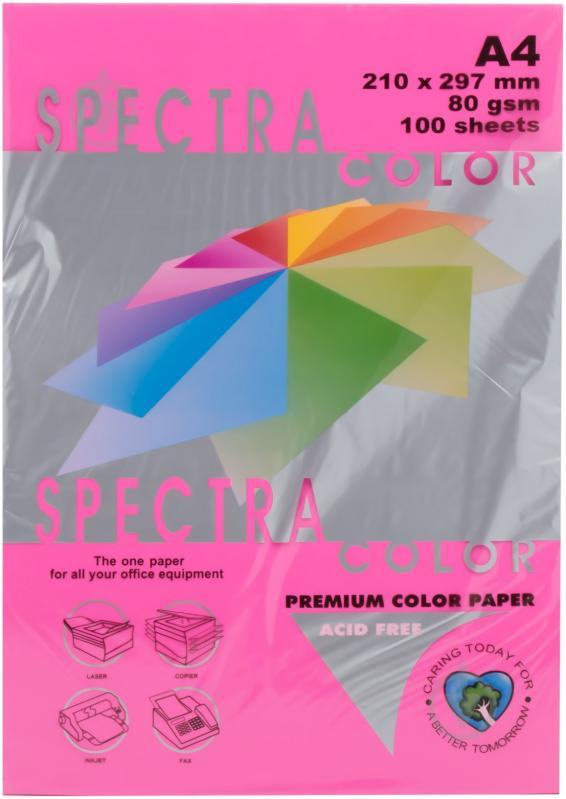 Бумага цветная Color A4 неон 75гр./м2. Red, 500листов, малин. Spectra Color - фото 1