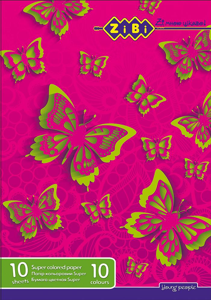 Бумага цветная А4 10листов, 10цвет. (4 неон.+6 станд. цветов) - фото 2