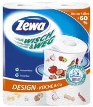 Полотенца рулонные 2-х сл., целлюлоза, 72отр.(24*25см.) 2шт./уп., Wisch & Weg Design, бел.