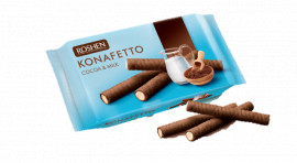 Трубочки вафельные Konafetto с начинкой какао и молоко, 156г.