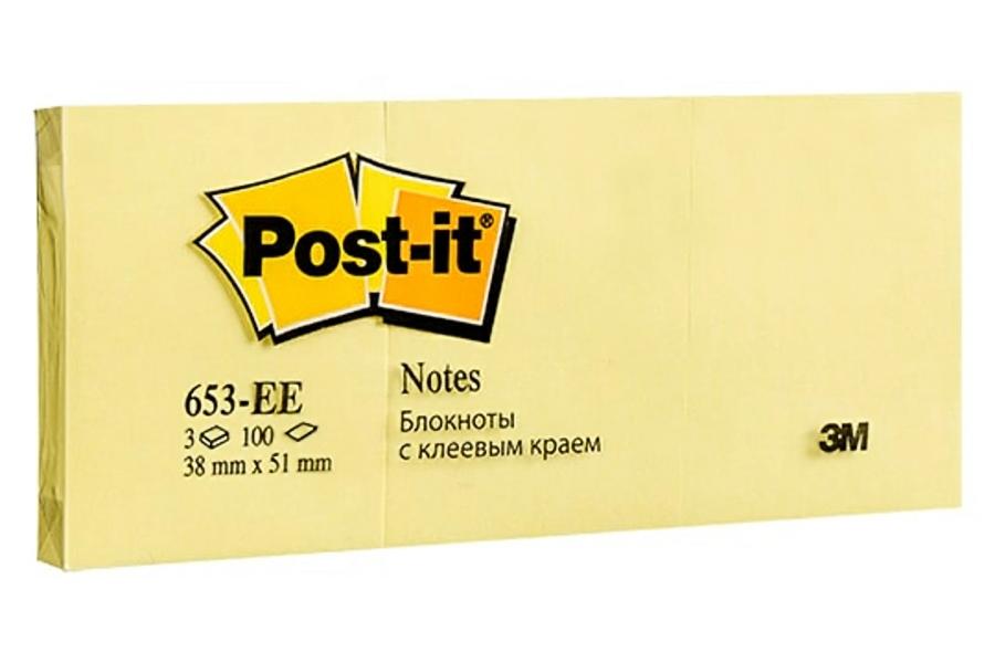 Post-it блок бумаги с клейким слоем 38*51мм.*100 листов 3шт./уп. желт. 3M - фото 1