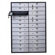 Блок депозитных ячеек (920*635*430) ключевой замок, 24 ячейки, алюминий