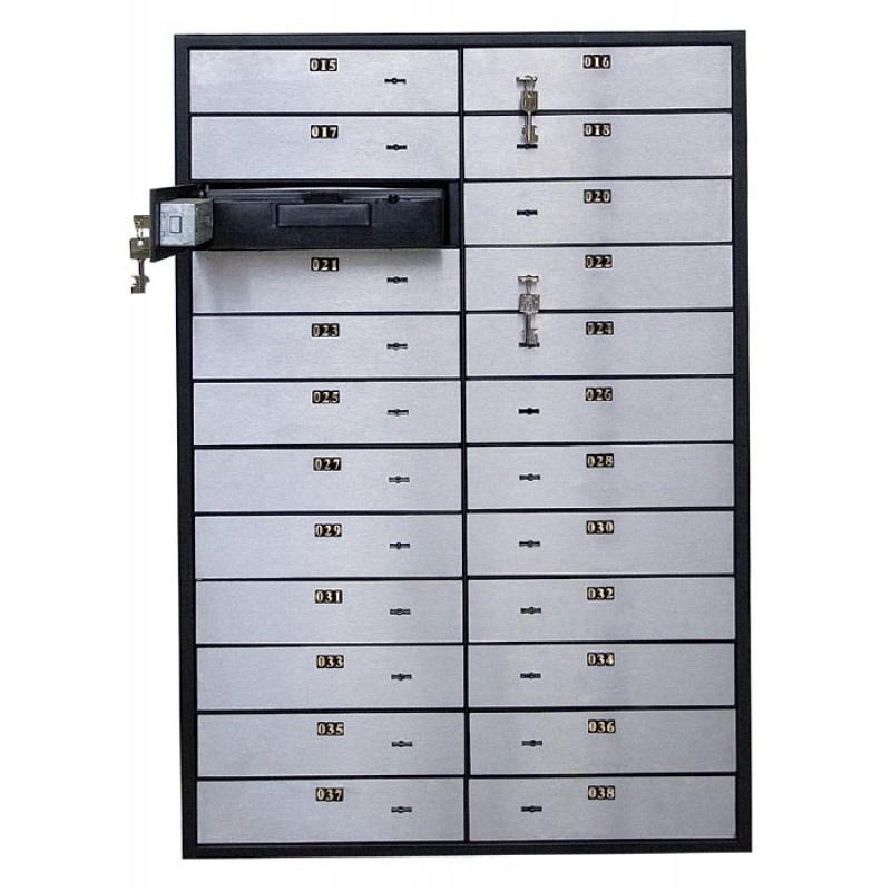 Блок депозитных ячеек (920*635*430) ключевой замок, 24 ячейки, алюминий Valberg - фото 1