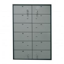 Блок депозитных ячеек (920*635*430) ключевой замок, 12 ячеек, алюминий