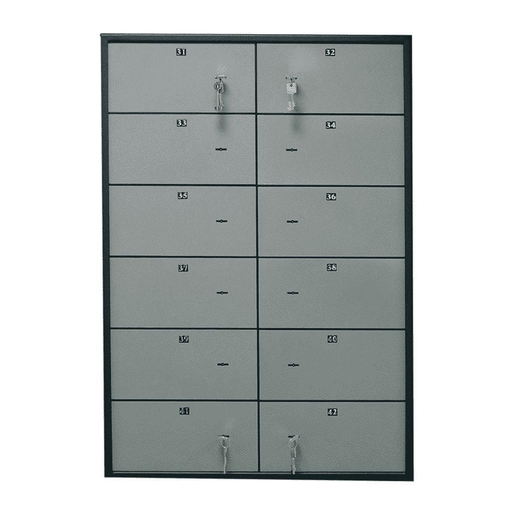 Блок депозитных ячеек (920*635*430) ключевой замок, 12 ячеек, алюминий Valberg - фото 1