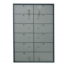 Блок депозитных ячеек (920*635*430) ключевой замок, 12 ячеек,  нерж/сталь, сталь.