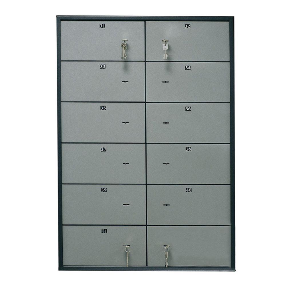 Блок депозитных ячеек (920*635*430) ключевой замок, 12 ячеек,  нерж/сталь, сталь. Valberg - фото 1