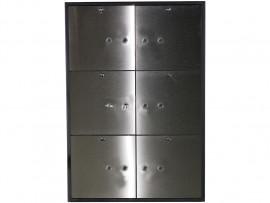 Блок депозитных ячеек (920*635*430) ключевой замок, 6 ячеек, нерж/сталь, сталь.