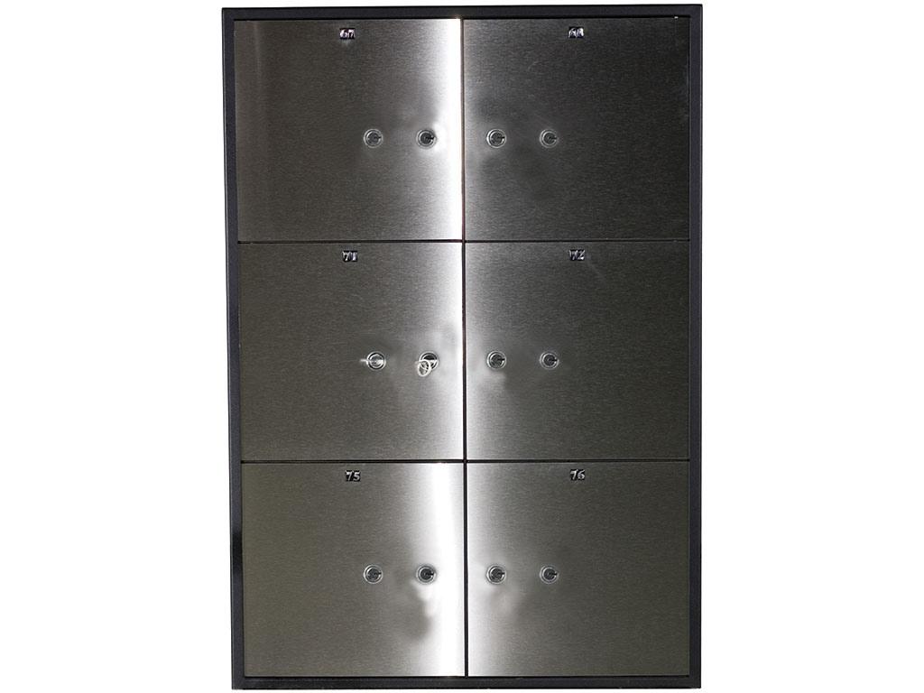 Блок депозитных ячеек (920*635*430) ключевой замок, 6 ячеек, нерж/сталь, сталь. Valberg - фото 1