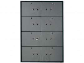 Блок депозитных ячеек (920*635*430) ключевой замок, 8 ячеек, 2 скважины на ячейку, алюминий
