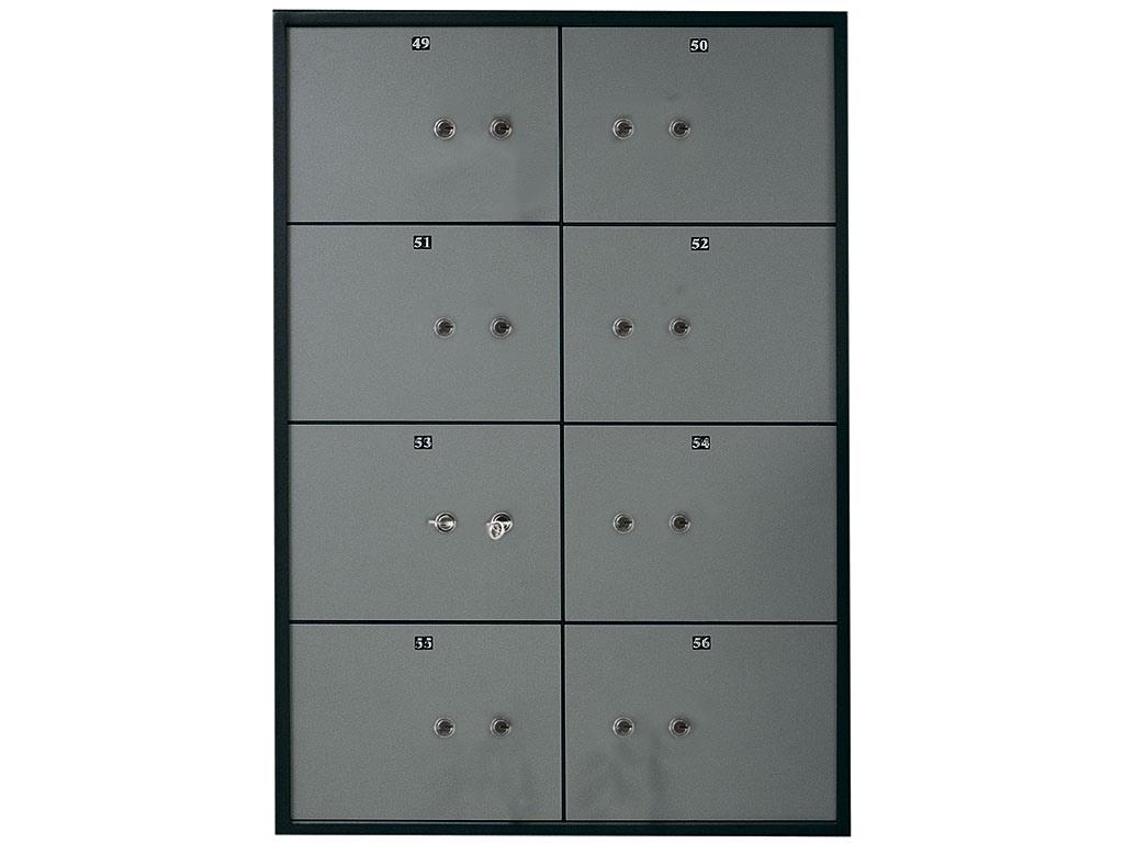 Блок депозитных ячеек (920*635*430) ключевой замок, 8 ячеек, 2 скважины на ячейку, алюминий Valberg - фото 1